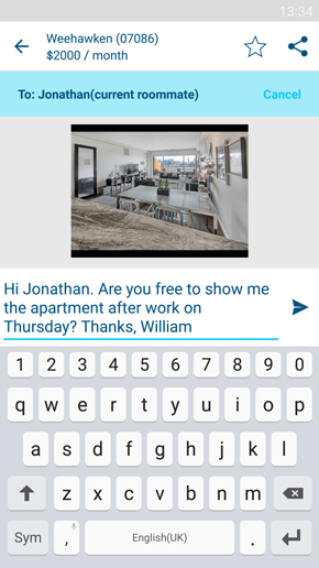 SpareRoom Android App screenshot of contact